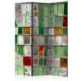 Paravan din 3 parti - Vitraliu de smarald - 135 x 172 cm, Artgeist