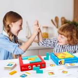 Joc logic Tetris 2 in 1 - Cuburi Lemn si Tablita de Scris, Oem