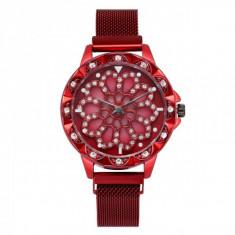 Ceas de dama elegant Geneva, bratara magnetica, cadran rotativ, model rosu, CS1018