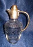 Vechi Decantor Carafa Lichior 0,5litri Cristal si metal argintat