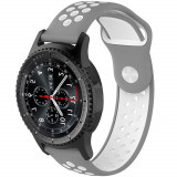 Curea ceas Smartwatch Samsung Gear S3, iUni 22 mm Silicon Sport Grey-White