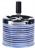 Scrumiera din metal cu buton 9.5x8cm albastra cu dungi
