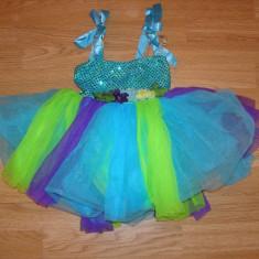 costum carnaval serbare rochie dans balet zana florilor pentru copii 4-5-6 ani