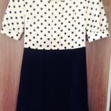 Shop my closet! Rochie de zi neagră + roz antic cu buline negre Lashez, 36, Multicolor
