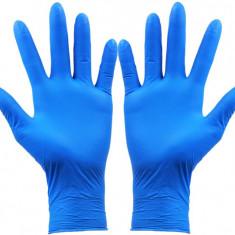 Cutie 100x Manusi Nitril, de Unica Folosinta, Texturate, Nepudrate, Albastre
