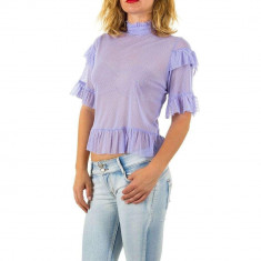 Bluza usor transparenta, de culoare lila, cu maneci scurte, L, M, S
