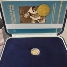 Monedă Aur Aniversare 1922 cu Regele Ferdinand si Regina Maria