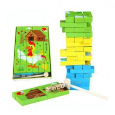 Joc Jenga turnul instabil si puzzle cuburi lemn.