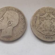2 Lei 1875 + 2 Lei 1881 Monede argint Romania Carol I!