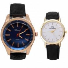 Pachet ceas barbatesc elegant Benett auriu, curea neagra + ceas elegant de dama...