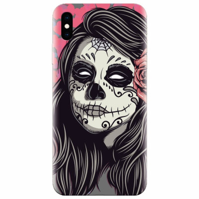 Husa silicon pentru Apple Iphone XS, Mexican Girl Skull foto