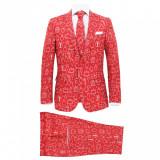 Costum bărbătesc Crăciun, 2 piese, cravată, roșu, mărimea 54, vidaXL