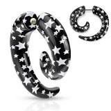 Expander fals pentru ureche - spirală neagră cu stele albe