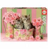Cumpara ieftin Puzzle Kittens with roses, 500 piese, Educa