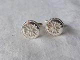 BUTONI argint TRIFOI cu PATRU FOI impecabili NOROCOSI superbi DE EFECT