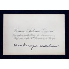 CARTE DE VIZITA APARTINAND COMM . ANTONIO PAGANO , CONSILIER LA CURTEA DE CASATIE PERUGIA, PERIOADA INTERBELICA