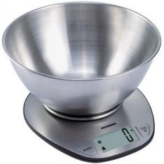 Cantar de bucatarie cu bol de 5kg, functie cantarire lichide si display LCD, Inox