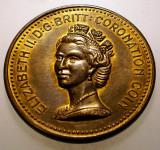 1.323 MEDALIE ANGLIA MAREA BRITANIE ELIZABETH II CORONATION COIN 1953 40mm