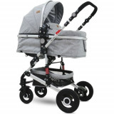 Carucior Transformabil 3 in 1 Alba, cu Cos Auto Inclus si Roti din Cauciuc Light Grey, Lorelli