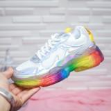 Pantofi sport dama albi cu talpa multicolora Zerila -rl