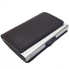 Portofel RFID iUni P6, 12 carduri, Brun inchis