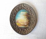 Tablou vechi de artizanat, pictura romaneasca artizanat anii 70, Natura, Ulei, Altul