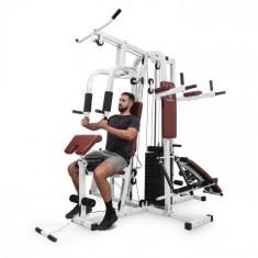 KLARFIT Ultimate Gym 9000, 7 aparate până la 150kg, QR, oțel, alb