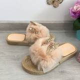 Cumpara ieftin Papuci bej cu blanita si urechi cu sclipici / slapi crem / sandale pt fetite 32