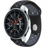 Curea ceas Smartwatch Samsung Gear S2, iUni 20 mm Silicon Sport Black-Grey