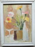 Tablou vechi flori în vază, ulei pe pânză, semnat, 40 x 50