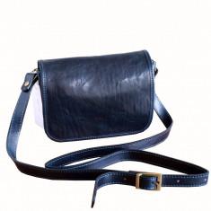 Geanta piele naturala, casual, bleumaren, GD102, Geanta stil postas, Albastru