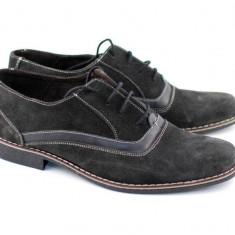 Pantofi barbati gri inchis din piele intoarsa cu suvite casual & eleganti