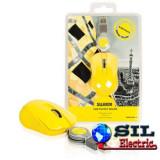 Mouse optic mini Barcelona pe USB cu cablu retractabil galben, Sweex, Optica