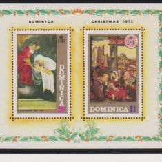 DOMINICA 1971 , 1972    CRACIUN , ANIVERSARI 3 COLITE DIVERSE NESTAMPILATE, Nestampilat