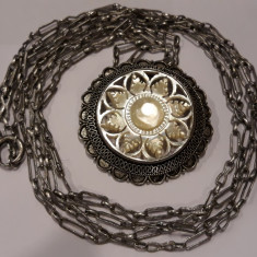MEDALION argint TRANDAFIR SIDEF traforat EXCEPTIONAL vechi pe Lant DUBLU Argint