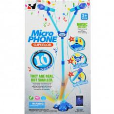 Microfon dublu cu baterii si suport albastru