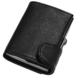 Portofel unisex, port card iUni P5, RFID, Compartimente 9 carduri, acte si bancnote, Negru