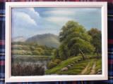 Tablou în ulei pe pânză – peisaj, semnat Vera, Peisaje, Realism