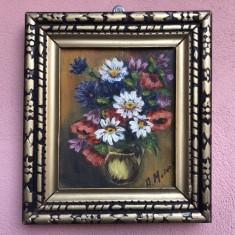 Tablou,pictura,picturi miniaturale  vechi  in ulei ,pe panza, Flori, Altul