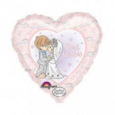 Balon nunta inima din folie 43cm Mire Mireasa Best Wishes