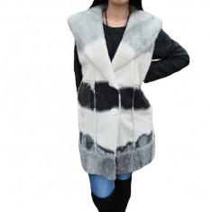 Cardigan trendy tip vesta lunga, culoare alba cu design negru