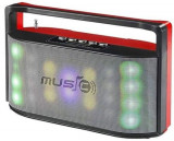 Boxa Portabila Wster WS-1808, Bluetooth, 6w RMS, iluminata led, handsfree, radio fm, slot tf, usb (Rosu)