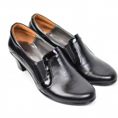 Pantofi dama piele naturala, de culoare neagra , eleganti, cu toc de 6 cm - PD91100