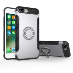 Husa telefon, pentru iPhone 7/8, argintie, cu inel metalic