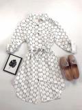 Rochie ieftina casual stil camasa alb si negru si cordon in talie imprimeu zale