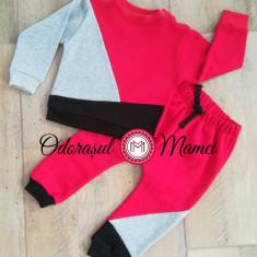 Trening 3 culori bumbac bebe – rosu, gri, negru