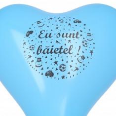 10 Baloane botez inimioare bleu 30cm imprimate Eu Sunt Baietel