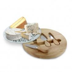 Platou sticla si lemn cu accesorii servire branzeturi