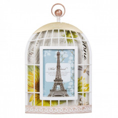 Rama foto decorativa, model colivie, 27×16,5 cm, alb