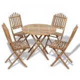 Set mobilier de exterior pliabil, 5 piese, bambus